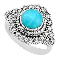 3.28cts solitaire natural blue larimar 925 sterling silver ring size 8.5 t20131