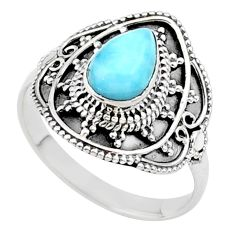 2.11cts solitaire natural blue larimar 925 sterling silver ring size 9.5 t27241