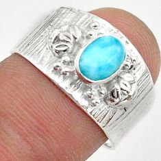 1.63cts solitaire natural blue larimar 925 sterling silver ring size 7.5 t42269