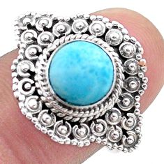 3.36cts solitaire natural blue larimar 925 sterling silver ring size 7.5 t46125