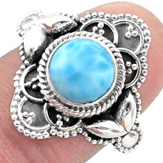 3.28cts solitaire natural blue larimar 925 sterling silver ring size 6.5 t46128