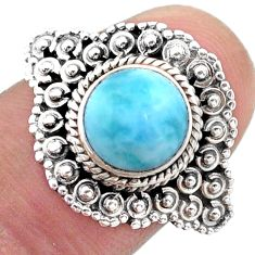 3.14cts solitaire natural blue larimar 925 sterling silver ring size 7.5 t46129