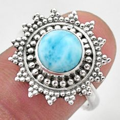 3.58cts solitaire natural blue larimar 925 sterling silver ring size 7.5 t46153