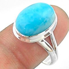 6.83cts solitaire natural blue larimar 925 sterling silver ring size 8.5 t56265