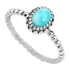 1.51cts solitaire natural blue larimar 925 sterling silver ring size 9.5 t6348