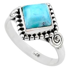 2.45cts solitaire natural blue larimar cushion 925 silver ring size 6 t11233