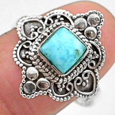 1.22cts solitaire natural blue larimar cushion 925 silver ring size 9 t30623
