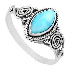 2.26cts solitaire natural blue larimar marquise 925 silver ring size 9 t26232