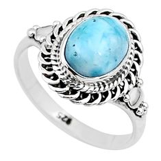 3.13cts solitaire natural blue larimar oval 925 silver ring size 7 t11185