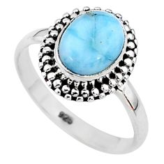 3.05cts solitaire natural blue larimar oval 925 silver ring size 7 t11191