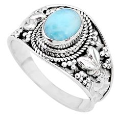 1.99cts solitaire natural blue larimar oval shape silver ring size 9.5 t10224