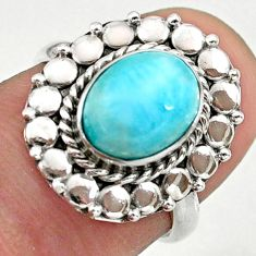 3.29cts solitaire natural blue larimar oval sterling silver ring size 6 t39867