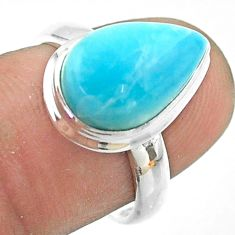 5.62cts solitaire natural blue larimar pear sterling silver ring size 6.5 t56292