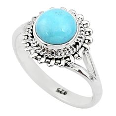 2.42cts solitaire natural blue larimar round 925 silver ring size 6 t4991