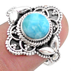 3.28cts solitaire natural blue larimar round sterling silver ring size 8 t46123