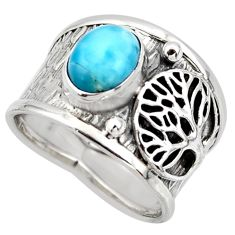 3.16cts solitaire natural blue larimar silver tree of life ring size 7.5 r49870