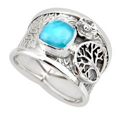 2.46cts solitaire natural blue larimar silver tree of life ring size 7 r49869