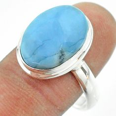 10.55cts solitaire natural blue owyhee opal 925 silver ring size 10 t54027