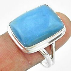 15.36cts solitaire natural blue owyhee opal 925 silver ring size 10 t54118