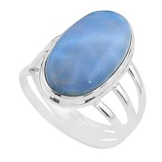 15.97cts solitaire natural blue owyhee opal 925 silver ring size 11 t17857