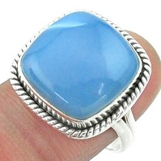 14.40cts solitaire natural blue owyhee opal 925 silver ring size 8 t55958