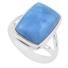 10.81cts solitaire natural blue owyhee opal 925 silver ring size 9 t17851