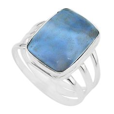 11.19cts solitaire natural blue owyhee opal 925 silver ring size 9 t17855