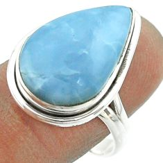 12.43cts solitaire natural blue owyhee opal 925 silver ring size 9 t55978