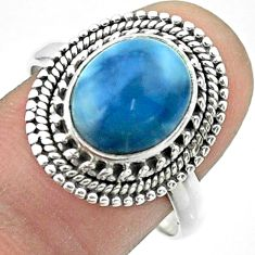 5.13cts solitaire natural blue owyhee opal 925 silver ring size 9 t56021