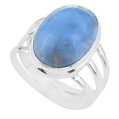 14.26cts solitaire natural blue owyhee opal 925 silver ring size 10.5 t17860