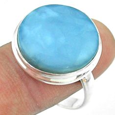 15.23cts solitaire natural blue owyhee opal 925 silver ring size 10.5 t54120
