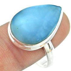 13.50cts solitaire natural blue owyhee opal 925 silver ring size 10.5 t54199