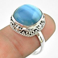 6.29cts solitaire natural blue owyhee opal cushion 925 silver ring size 8 t55862