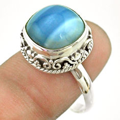 6.78cts solitaire natural blue owyhee opal cushion 925 silver ring size 9 t55872