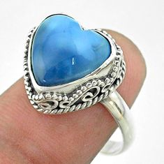 5.84cts solitaire natural blue owyhee opal heart 925 silver ring size 8 t55919
