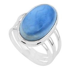 13.09cts solitaire natural blue owyhee opal oval 925 silver ring size 10 t17854