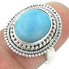 5.31cts solitaire natural blue owyhee opal oval 925 silver ring size 7 t55950