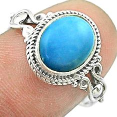 4.24cts solitaire natural blue owyhee opal oval 925 silver ring size 7 t57458