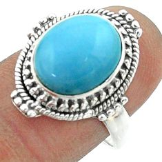 5.37cts solitaire natural blue owyhee opal oval 925 silver ring size 8 t55975