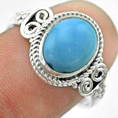 3.94cts solitaire natural blue owyhee opal oval 925 silver ring size 8 t57490