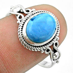 4.24cts solitaire natural blue owyhee opal oval 925 silver ring size 9 t57460