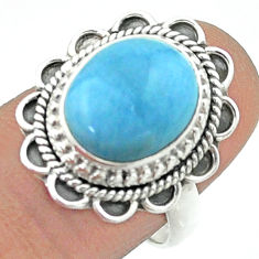 5.27cts solitaire natural blue owyhee opal oval 925 silver ring size 7.5 t55965