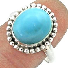 5.07cts solitaire natural blue owyhee opal oval 925 silver ring size 8.5 t55966