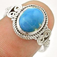 4.21cts solitaire natural blue owyhee opal oval 925 silver ring size 7.5 t57487