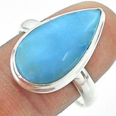 10.51cts solitaire natural blue owyhee opal pear 925 silver ring size 9 t54030