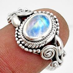 2.19cts solitaire natural blue rainbow moonstone 925 silver ring size 8 r41893