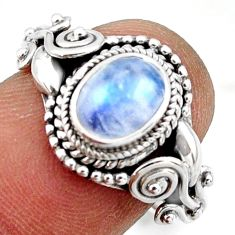 2.17cts solitaire natural blue rainbow moonstone 925 silver ring size 8 r41897