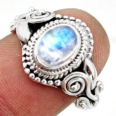 2.08cts solitaire natural blue rainbow moonstone 925 silver ring size 8 r41899
