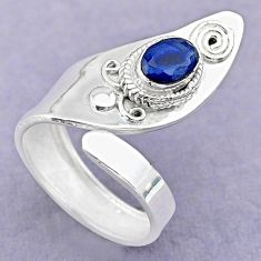 1.45cts solitaire natural blue sapphire 925 silver adjustable ring size 7 t32154