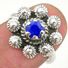 0.82cts solitaire natural blue sapphire 925 silver flower ring size 6 t40712